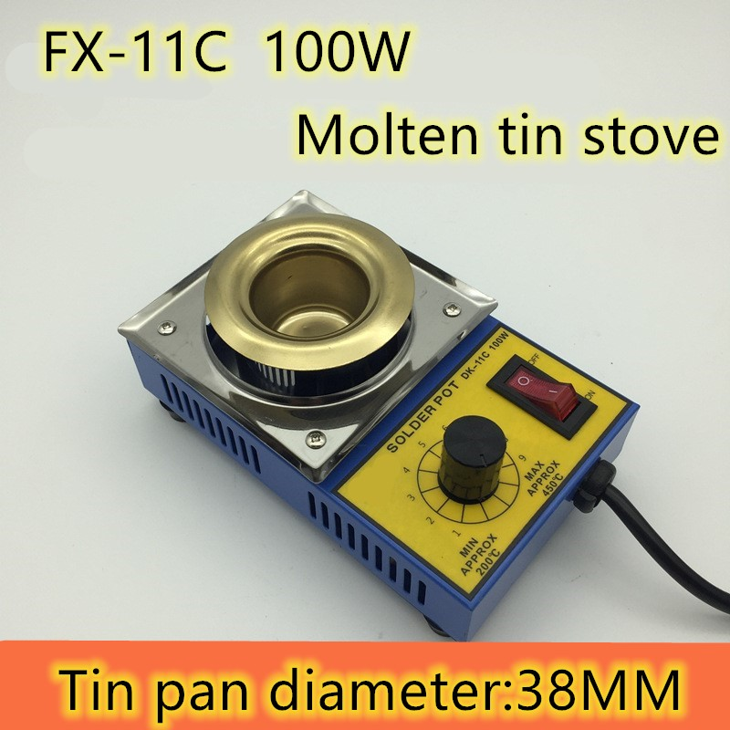 220V Adjust Temperature Lead-free, Molten Tin Stove 38/50/80/100mm 100W-300W Stainless Steel Titanium Plating Soldering