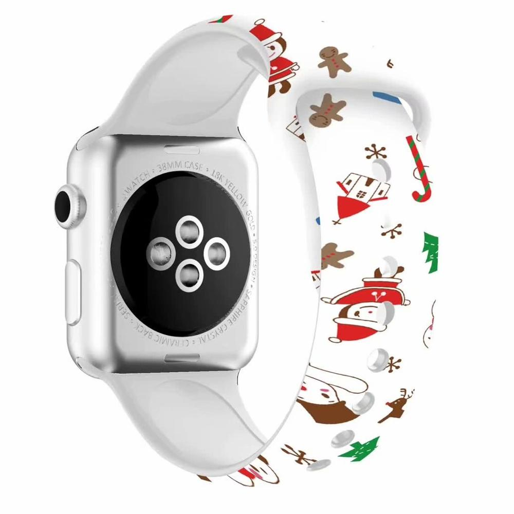 Christmas Gift Band For Apple Watch 5 4 3 2 1 Bands 40mm 44mm, Silicone Floral Printed Strap For IWatch Series 5 4 3 2 38mm 42mm