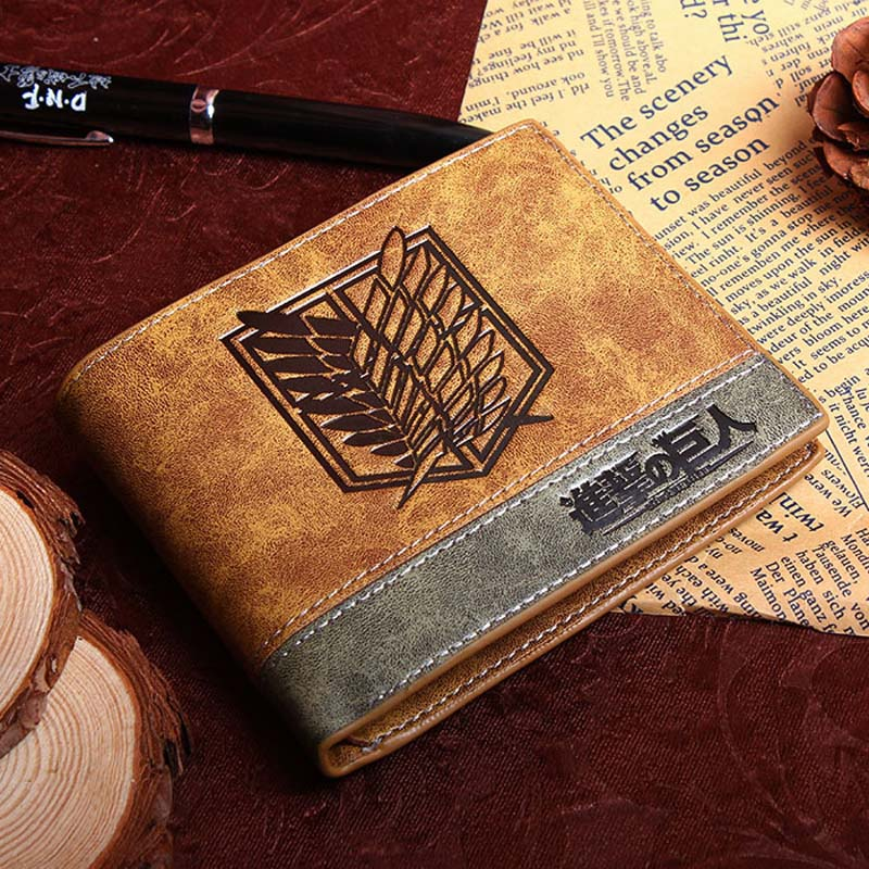 Anime Comics Attack On Titan Wallet With Coin Pocket Card Holder Khaki Leather Purse Men Women Gift Money Bag