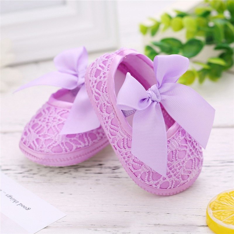 Baby Girl Lace Shoes Elastic Band Anti-slip Baby Girl Soft Soled Anti-Slip Shoes With Bowknot First Walkers For 0-18 Month