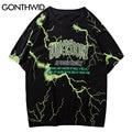 GONTHWID T-shirts Street Hip Hop Blitz Druck Punk Rock Gothic Tees Shirts Harajuku Fashion Casual Kurzarm Lose Tops