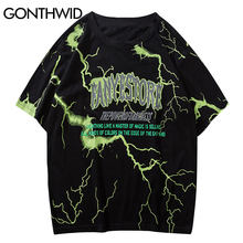 GONTHWID t-shirts Streetwear Hip Hop foudre impression Punk Rock gothique t-shirts Harajuku mode décontracté à manches courtes hauts amples
