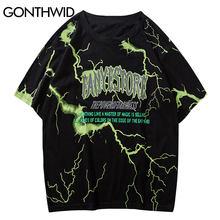 GONTHWID T shirt Streetwear Hip Hop Lightning Print Punk Rock Gothic Tees camicie Harajuku moda Casual manica corta top allentati
