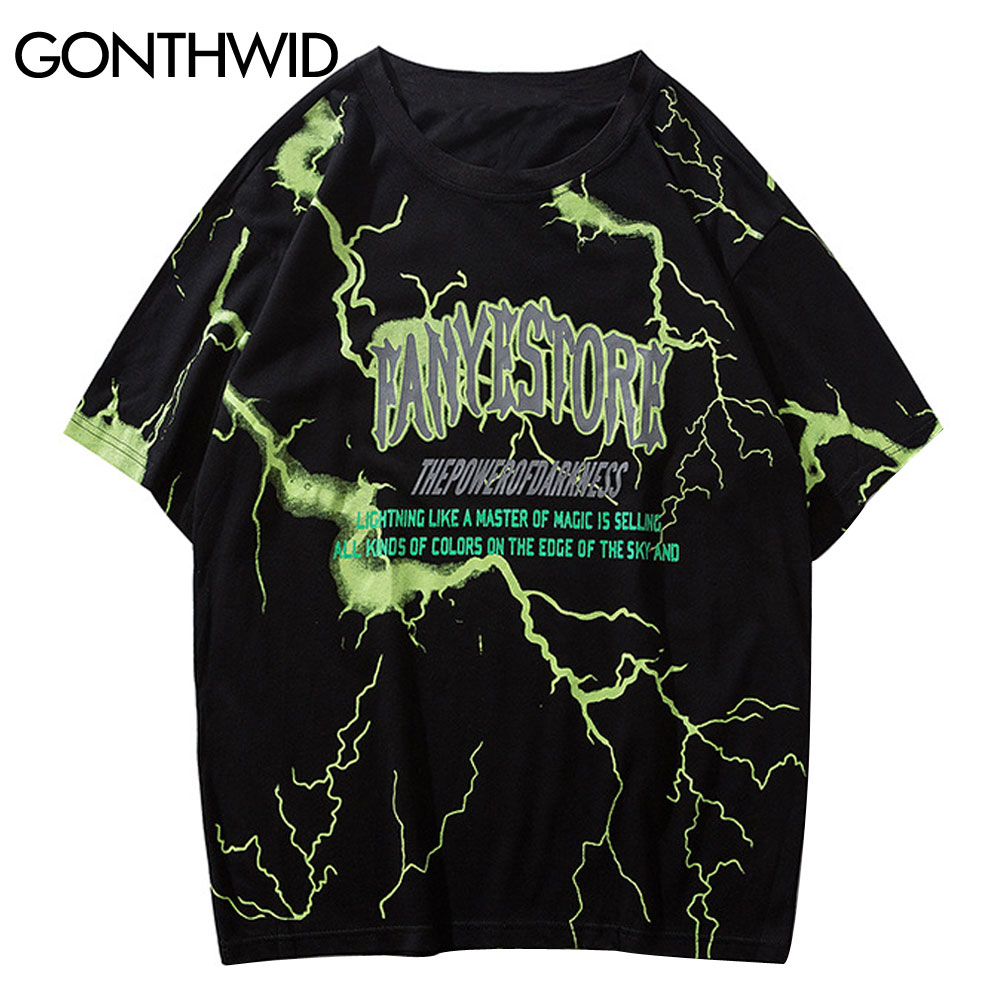 GONTHWID Tshirts Streetwear Hip Hop Lightning Print Punk Rock Gothic T
