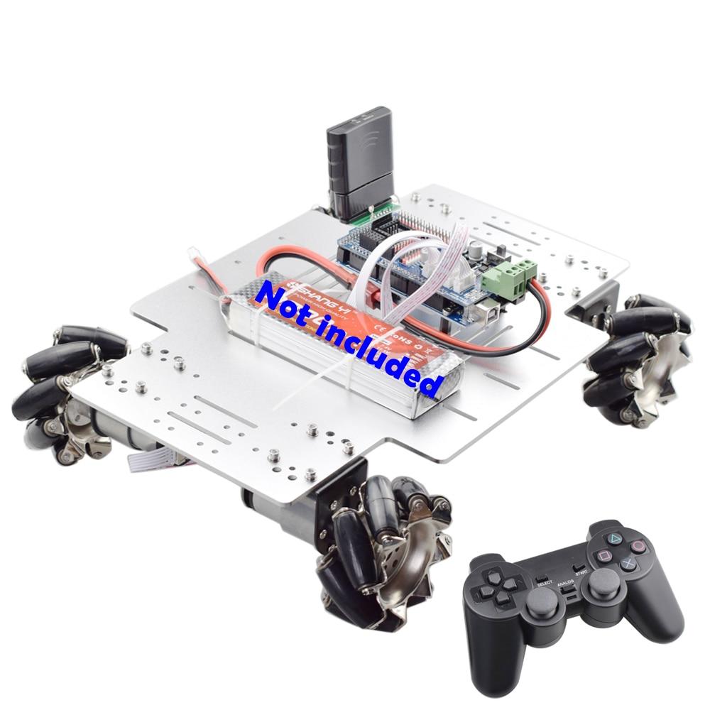 PS2 Handle RC 25KG Big Load 78mm Mecanum Wheel Robot Car Chassis Kit With 4pcs 12V Speed Encoder Motor For Arduino Shooting DIY