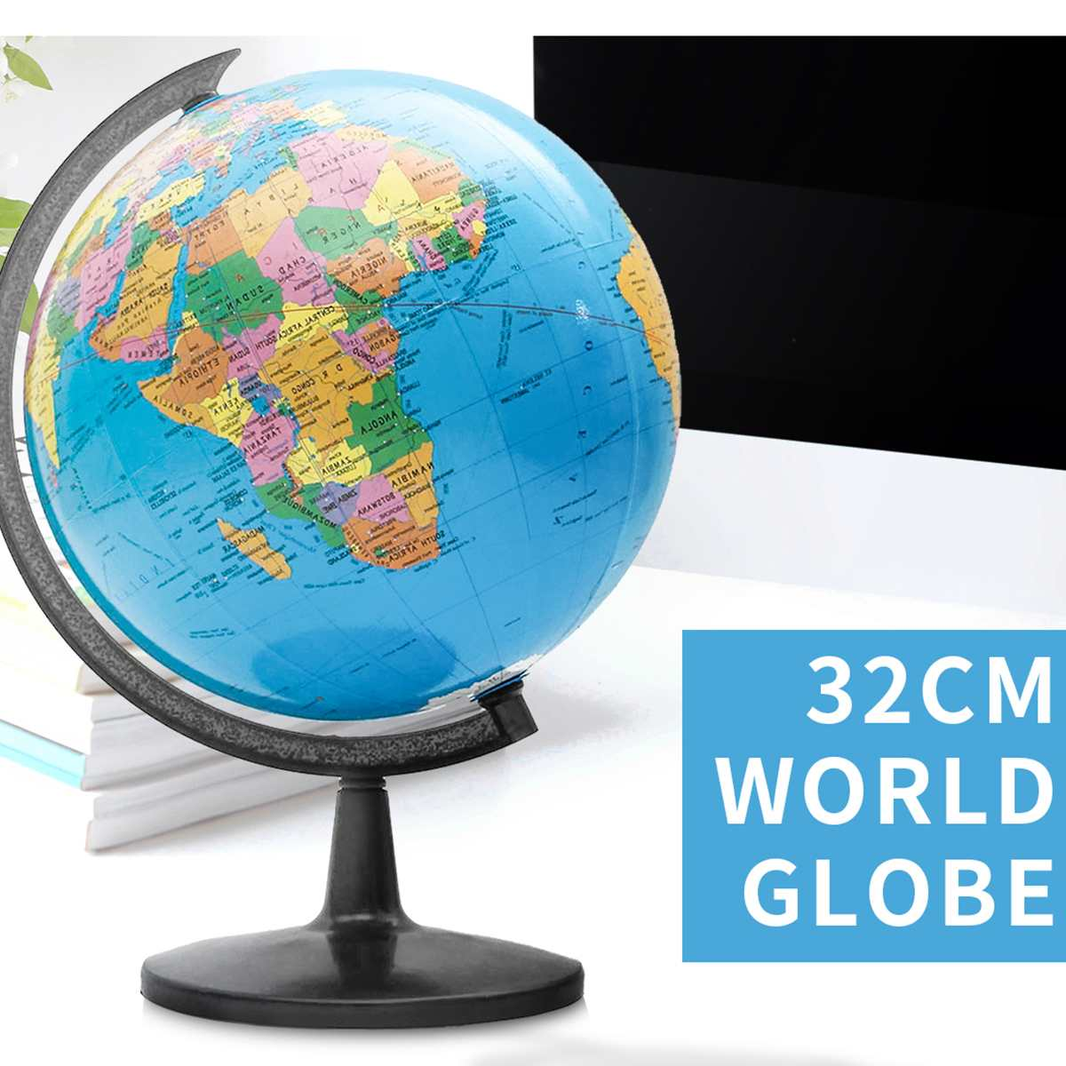 32CM World Globe Atlas Map With Swivel Stand Geography Educational Toy Home Office Miniatures Ornament Gift Student Study Tools