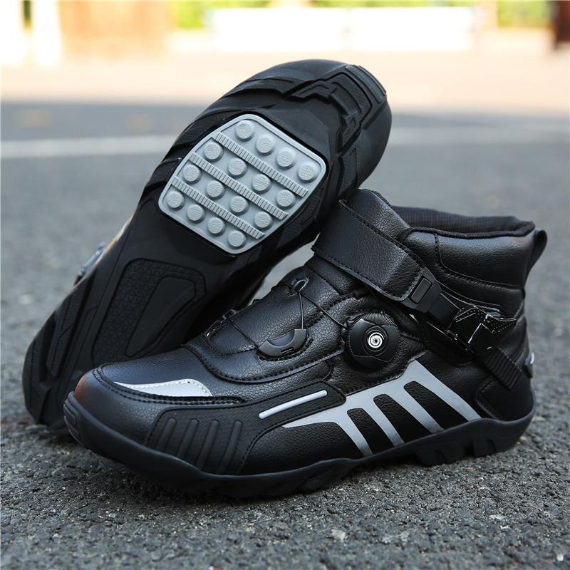 MJ MOTO Motorrad Schuhe Männer/Frauen Ankle Lokomotive Motocross Racing Stiefel Off Road Bike Schuh Self-Locking Ultraleicht sportlich