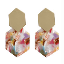 Hello Miss New Simple Hexagon Alloy Earrings Geometric Acrylic Long Pendant Fashion Womens