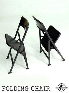 1/6 Soldier Figure Accessory Folding Black Chair Model Family Scene for 12