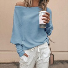Autumn Casual Loose Batwing Sleeve Sweater Pullovers Solid Color Off Shoulder Sweater Pullover Loose Casual Knitwear Jumper cami cold shoulder loose knitwear page 9
