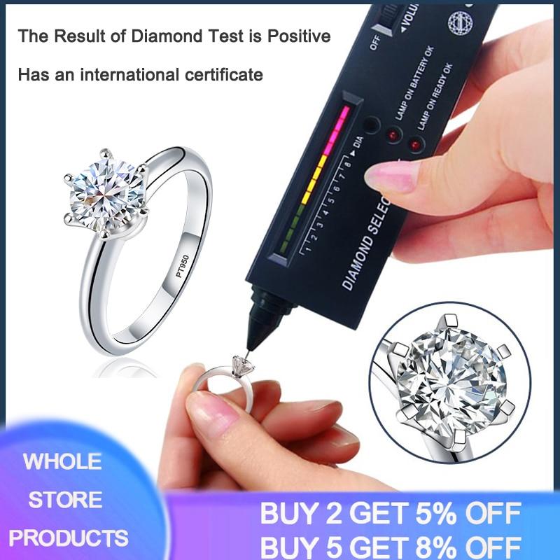 Tiffany Avec certificat de luxe Solitaire Moissanite bague de mariage solide PT950 or blanc anneaux diamant Test passé positif MS001
