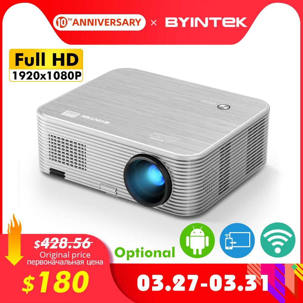 Projetor 4 k do byintek k15, 1920x1080p, proyector esperto de wifi do andróide, beamer video do diodo emissor de luz para 3d 4 k 300 polegadas cinema em casa, o mais novo 1080p