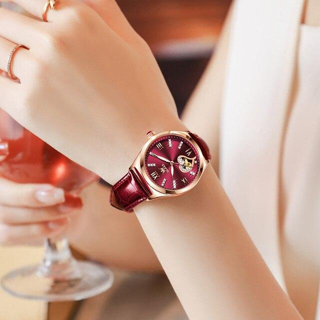New Luxury Women Watches Automatic Mechanical Leather Wrist Watch Rhinestone Ladies Fashion Bracelet Set Gift Top Brand часы 2