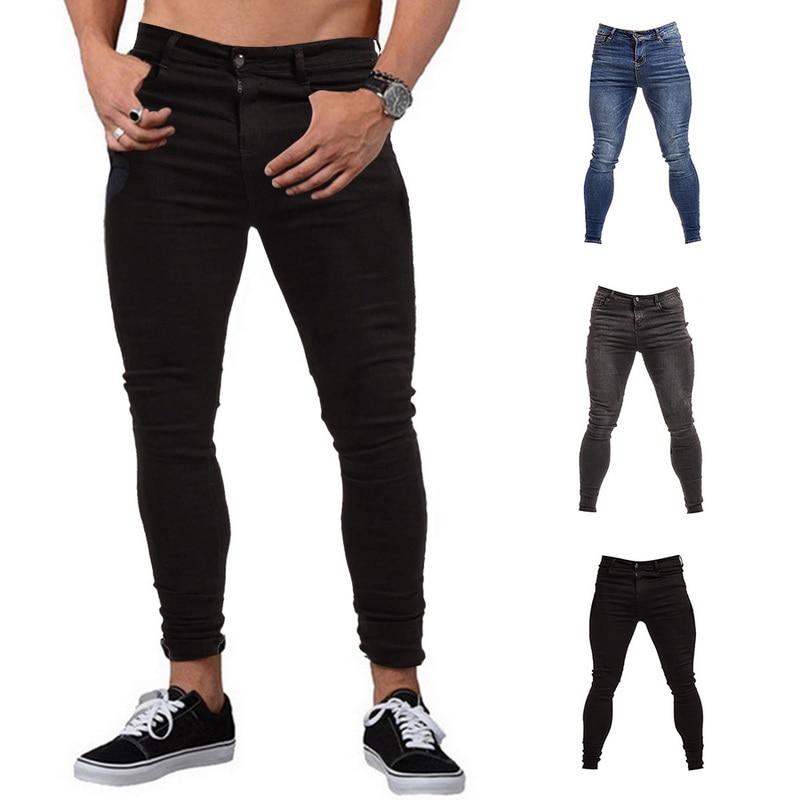 New Men's Slim Elastic Jeans Fashion Classic Style Skinny Jeans Denim Pants Trousers Male Washed Slim Denim Men Trousers