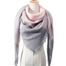 Модный зимний шарф для женщин, клетчатые вязаные треугольные шарфы, кашемировые пашмины, женские теплые покрывала, шали, шарфы для шеи