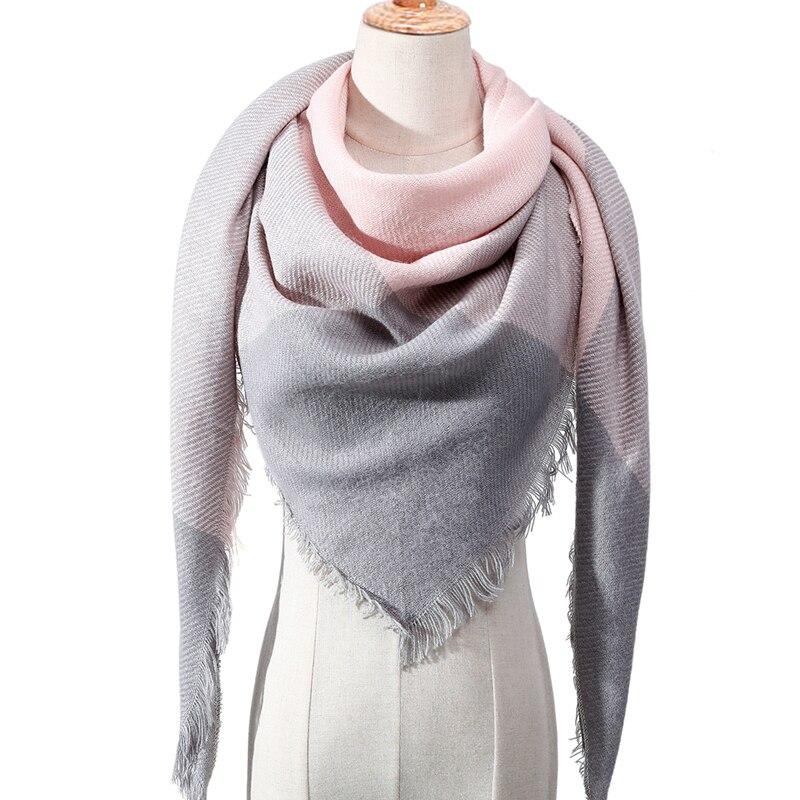 2019 Fashion Winter Scarf For Women Plaid Knitted Triangle Scarves Cashmere Pashmina Lady Warm Blanket Shawls Wraps Neck Scarfs