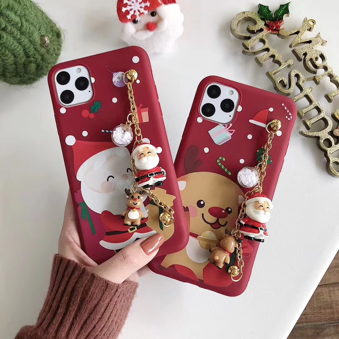 Cute Santa Claus Christmas Gift Phone Case For Iphone 11 Pro Max With Bracelet Wristband Holder