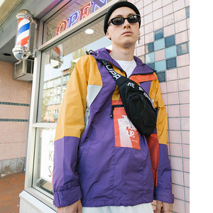 Image 5 - 2019 גברים Harajuku היפ הופ Jacket Streetwear צבע בלוק סלעית מעיל רוח מעיל רטרו טלאים Zip מסלול מעיל סתיו