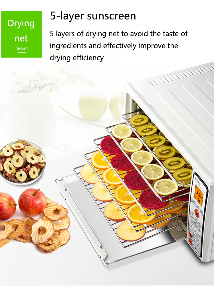 Fruit Dryer Household Small Food Dryer Food Fruit Soluble Beans Vegetables Pet Dehydration Air Dryer Food Drying Machine  1200W