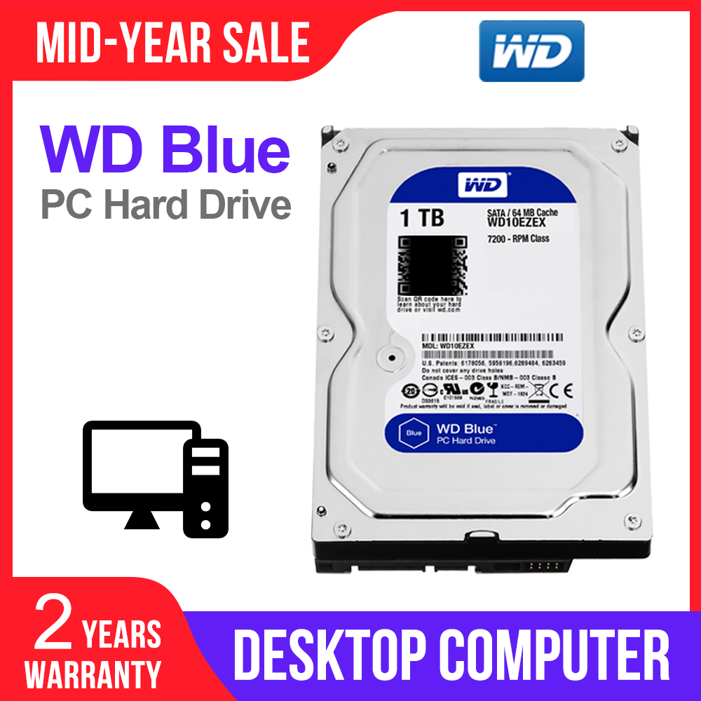WD 64M HDD Desktop-Hdd Hard-Disk SATA Internal Blue 7200PPM WD10EZEX 1TB for PC 6-Gb/s