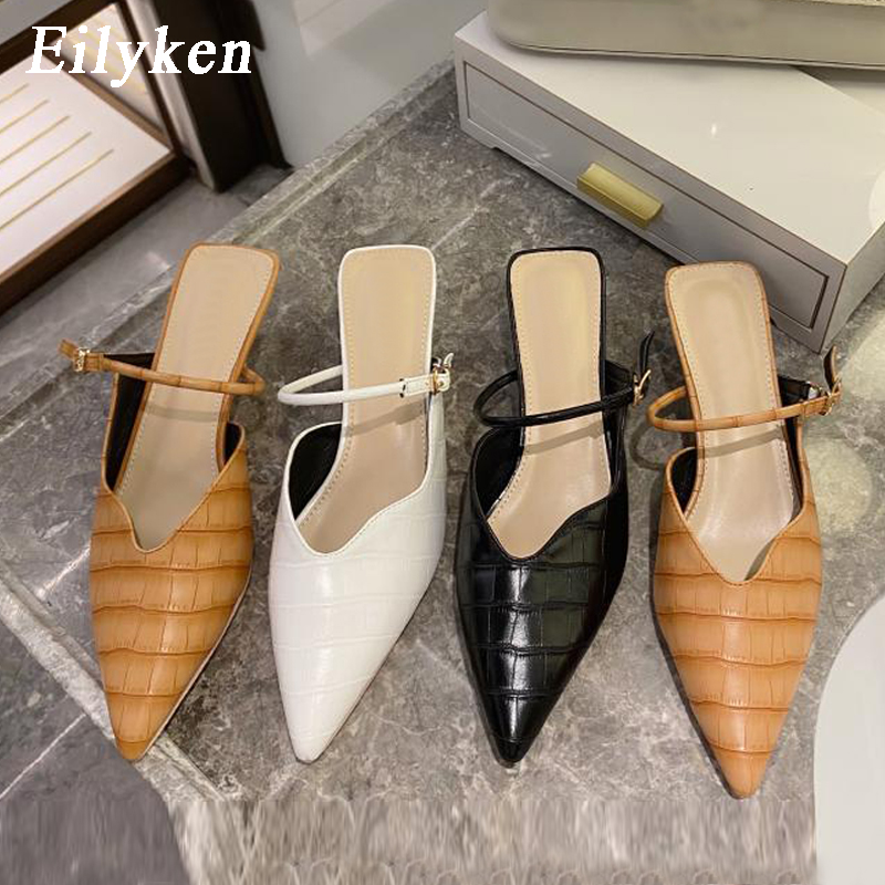 Eilyken Classic Pointed Toe Wedding Pumps Fashion Snake Print Leather Women Half Slippers Buckle Strap Low Heel Shoes Slides