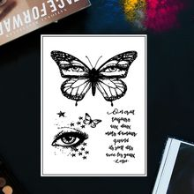 Butterfly Eyes Clear Stamp For Scrapbooking Transparent Silicone Rubber DIY Photo Album Decor new scrapbook diy photo album cards butterfly style transparent acrylic silicone rubber clear stamps sheet handmade craft decor