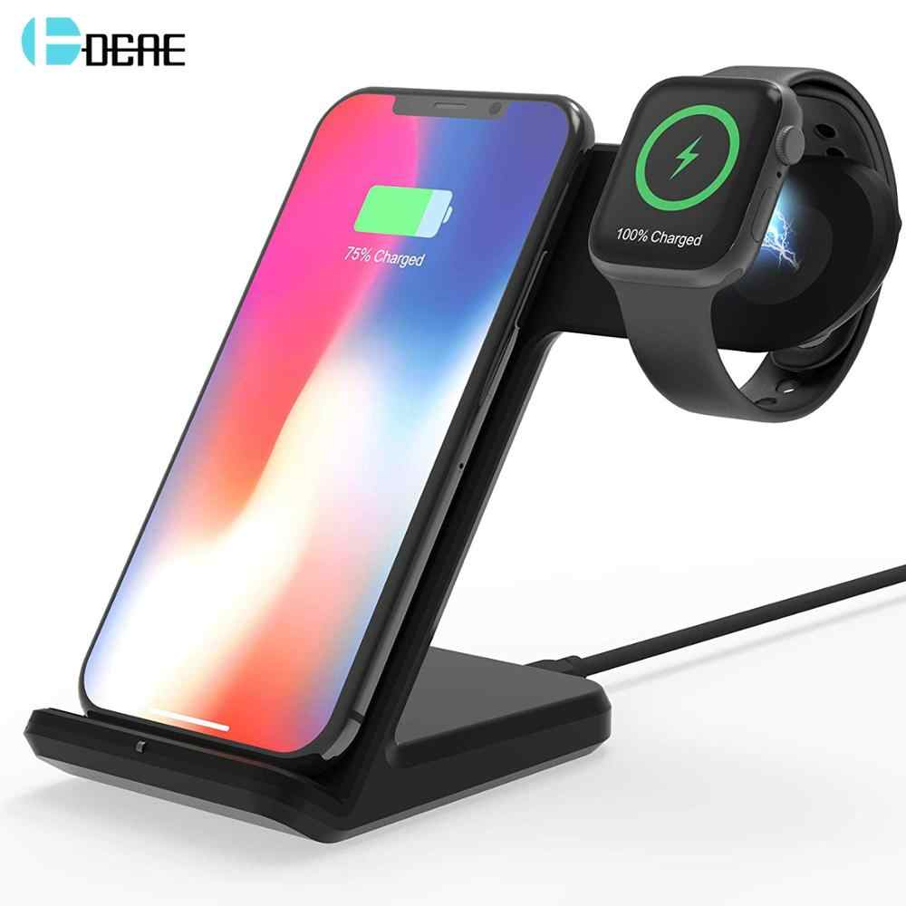 Dcae Qi Wireless Charger Stand For Apple Watch 5 4 3 2 10W Cepat Pengisian Stasiun Dock untuk iPhone 11 Pro XS XR X 8 Samsung S10 S9