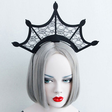 Halloween Queen Van Black Lace Openwork Hairband Super Crown Hair Hoop Christmas Party Exaggerated Hair Accessories
