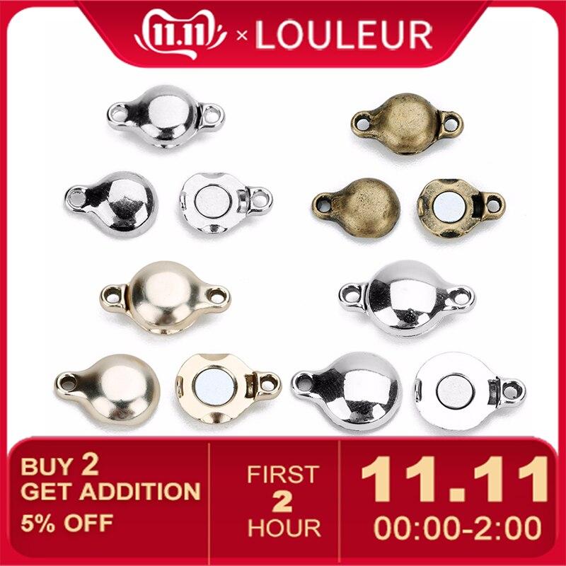 LOULEUR 10pcs/lot Silver Strong Magnetic Clasps For Necklace Bracelet Antique Bronze Buckle Connector Hook For Jewelry