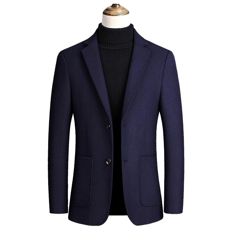 Men Jackets 2020 Autumn Jackets for Men Woolen Blends Jacket Men Solid Color Single Button Mens Jackets High Quality Coats Men