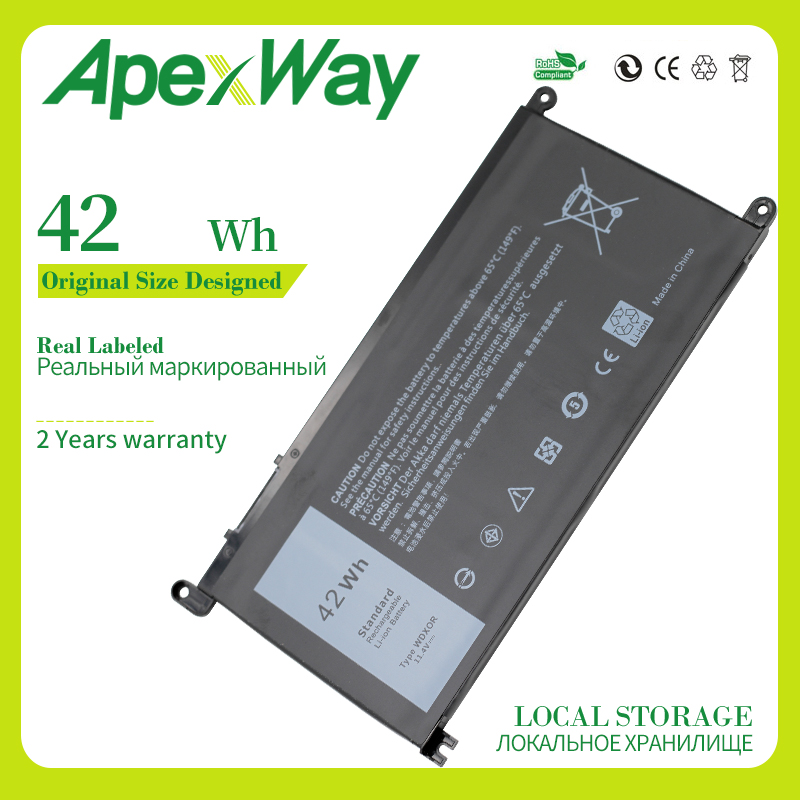 Apexway 42WH Laptop <font><b>Battery</b></font> for Dell <font><b>Inspiron</b></font> 14 7000 <font><b>5567</b></font> 7560 7472 7460-d1525s 7368 7378 5565 for Latitude 3488 3580 WDXOR image