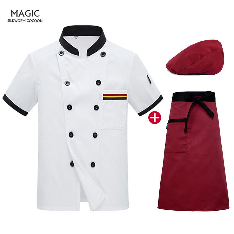 Double Breasted Chef Clothing Kitchen Cook Wear Short Sleeved Chef Uniform Beauty Apron  Restaurant Uniforms Shirts Chefs Hat
