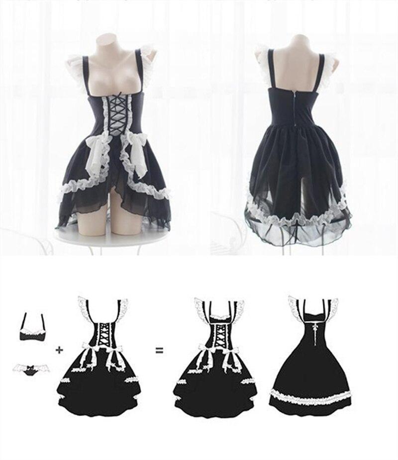 Lolita Sweet Gothic Dress Cute Anime Maid Costumes Lingerie Chiffon Ruffle Bikini Set for Women Sexy Lingerie Uniform Temptation 2