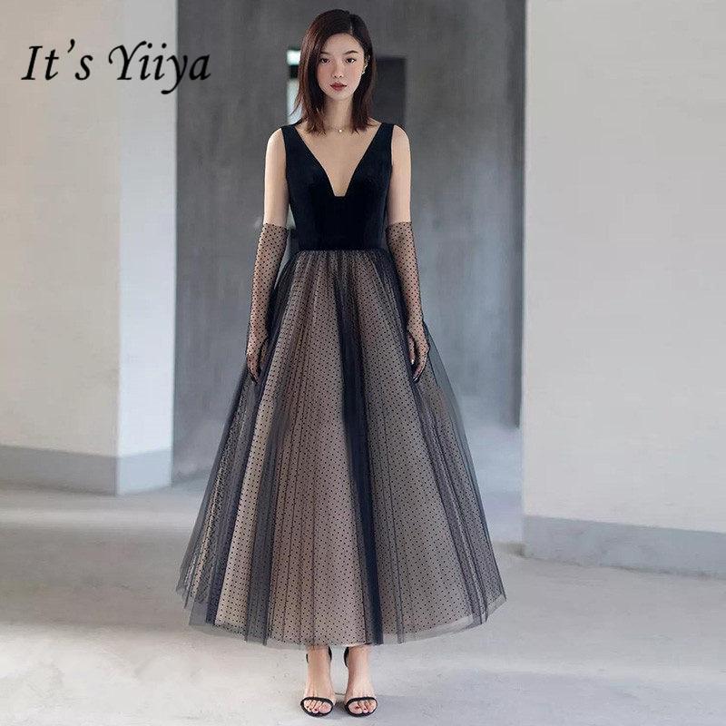 It's Yiiya   Prom     Dress   2019 Sexy V-neck Sleeveless Plus Size Vestidos De Gala Black Backless Tea-Length Women Party   Dresses   E777