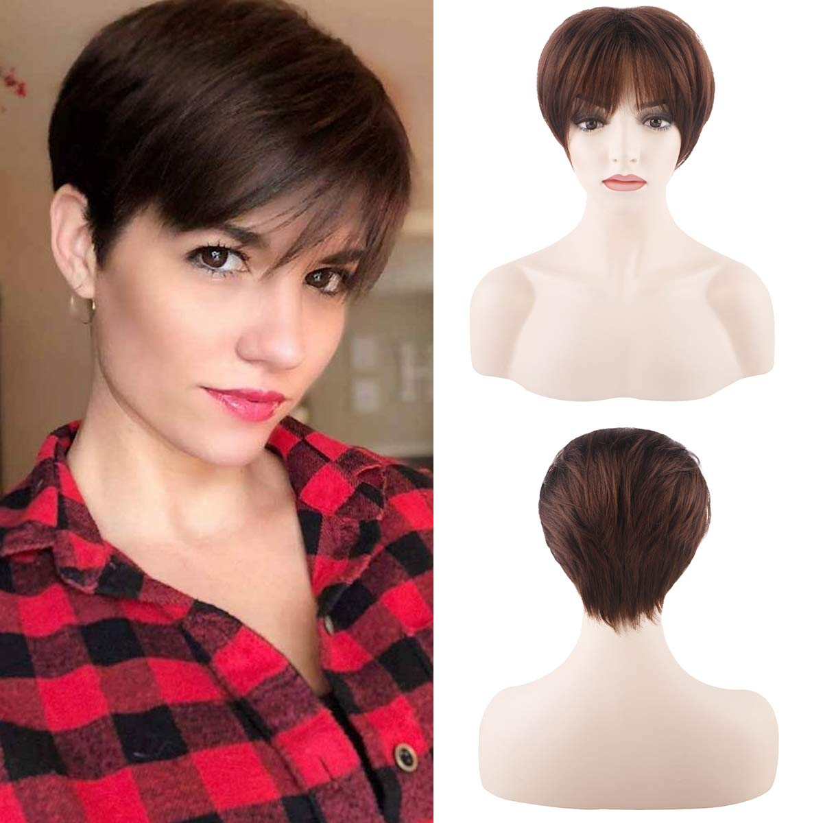 Short 100% Human Hair Wigs With Bangs Dark Brown Pixie Cut Hair Cosplay Costume Straight Full Replacement Wig