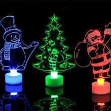 1 шт., Красочный светодиодный декоративный светильник, товары на год, украшения на елку, вечерние принадлежности, акриловый подарок на Рождество и ночь