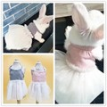 Хлопковая газовая юбка одежда для собак юбка с кроликом юбка с котенком платье на подтяжках одежда с маленьким котом