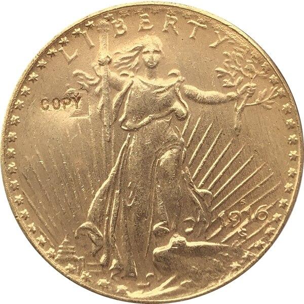 США 1916-S $20 St. Копия монеты с изображением гауденция
