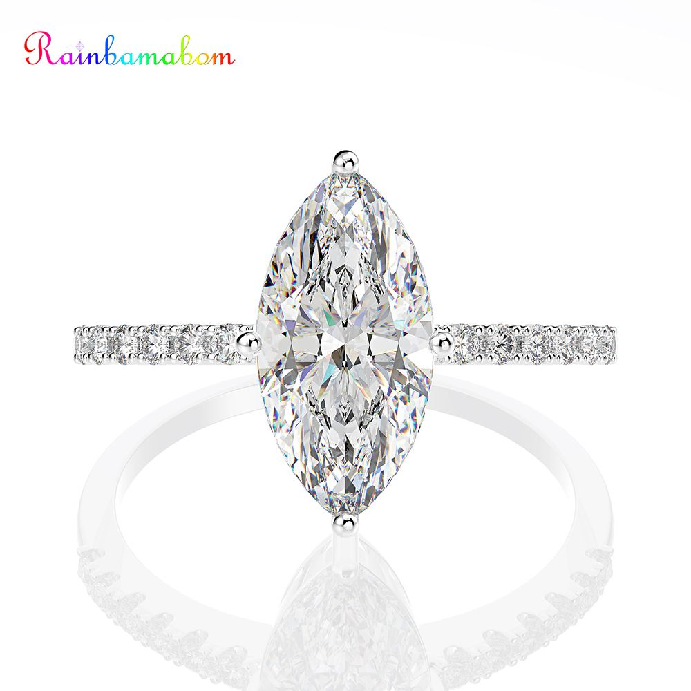Rainbamabom 925 Solid Sterling Silver Marquise Created Moissanite Gemstone Wedding Engagement Party Ring Fine Jewelry Wholesale