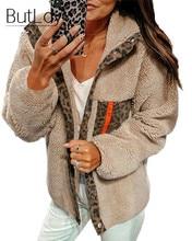 Button Lapel Leopard Print Coat Women 2019 Autumn Winter New Style Pocket Zipper Wool Coat Stitching Long Sleeve Woman Coats pocket notch lapel grid one button coat