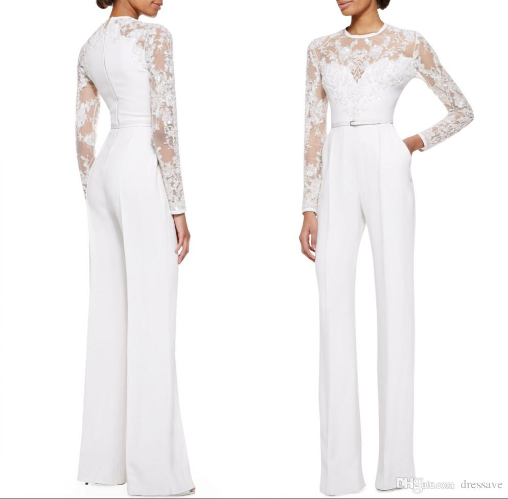 White Mother Of The Bride Pant Suits Jumpsuit With Long Sleeves Lace Embellished Women Formal Evening Wear Custom Made