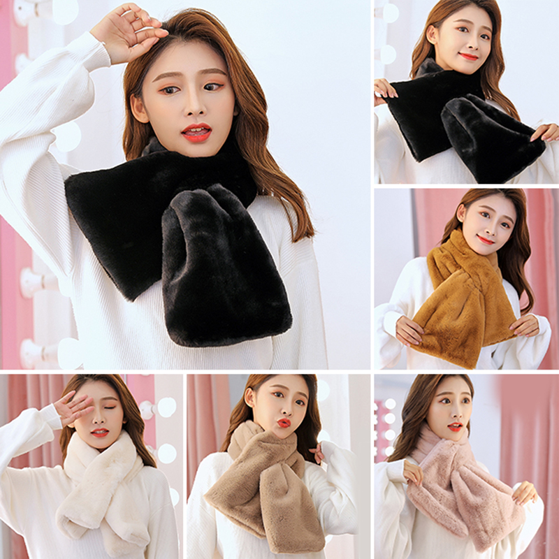 Women Winter Thicken Plush Faux Rabbit Fur Scarf Solid Candy Color Collar Shawl Neck Warmer Shrugs Knitted Neckerchief Long Wrap