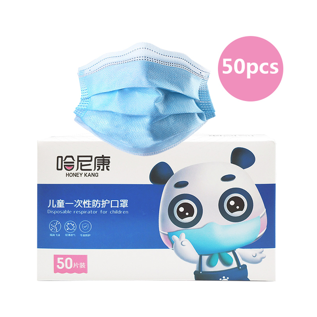 50pcs 3--13 Years Old Children's 3 Layers Face Mask Non-woven Anti-bacterial Anti-flu Disposable Cartoon Dog Printed Mask 4