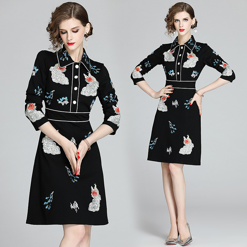 2020 Spring New Products WOMEN'S Dress Elegant Fold-down Collar Machine Embroidery Ninth Sleeve Slim Fit A- Line Dress