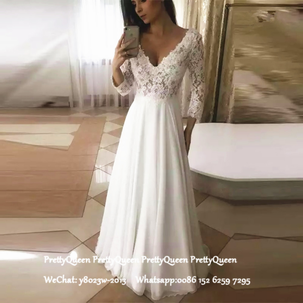 White Bohemia Wedding Dress With Long Sleeves Sheer Lace Top Chiffon Skirt Deep V Neck A Line Beach Dresses Bridal For Women