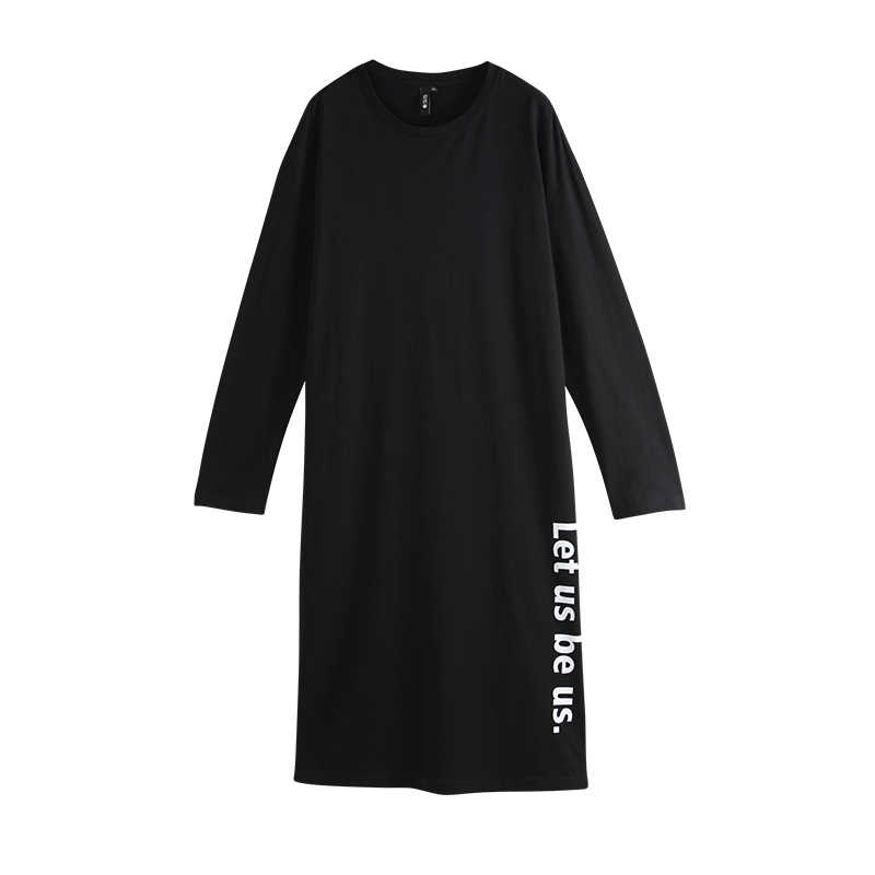 Toyouth 2020 ฤดูใบไม้ผลิผ้าฝ้ายชุด Women Letter พิมพ์ชุดแขนยาวแยก Hemline Solid หญิงชุด