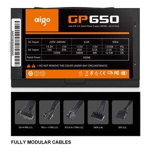 Image 3 - Aigo PC 전원 공급 장치 650W 80PLUS PSU 인증 전원 공급 장치 PC 게임 최대 850W 컴퓨터 12V 120mm 냉각 팬