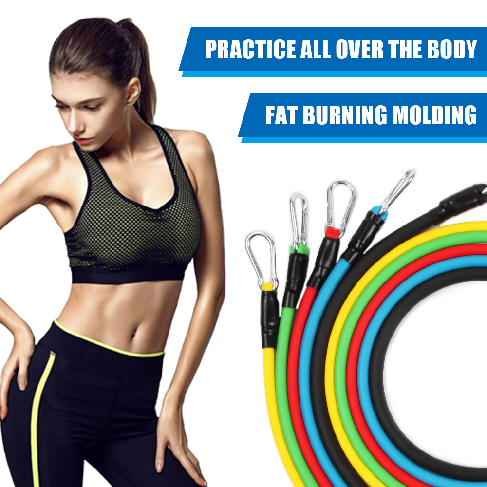 11PCS/ 13PCS Fitness Resistance Bands Workout Exercise Yoga Set Fitness Tube Yoga Stretch Training Home Gyms Elastic Pull Rope 4
