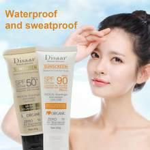 Protetor solar de corpo e facial, protetor solar em creme para proteção da pele, anti-envelhecimento, com óleo hidratante para controle, spf 50/spf 90 tslm1