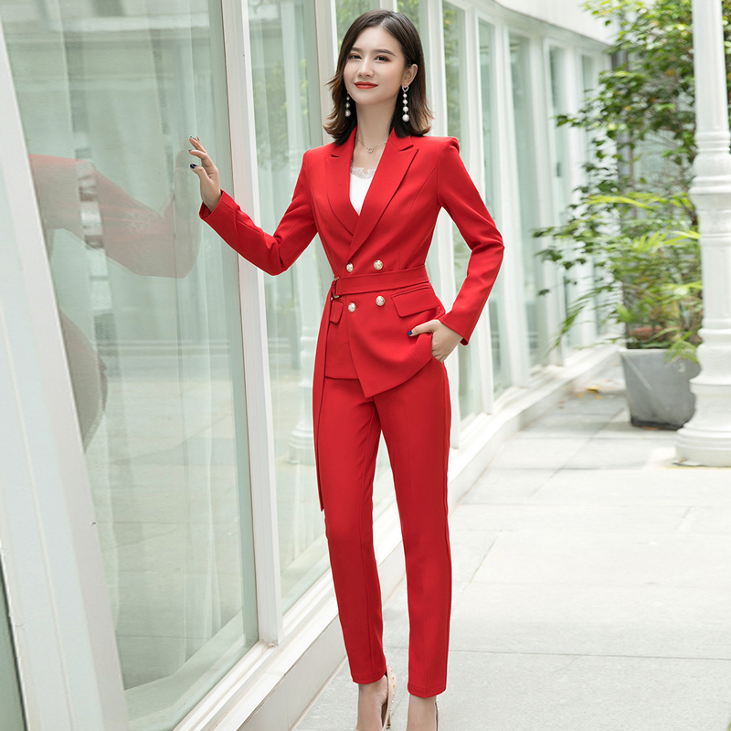 Temperament High Quality Fabric Women's Professional Pants Suit New Slim Red Lady Blazer Jacket Coat Casual Trousers Two-piece